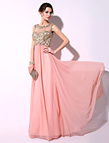 Formal Evening Dress Sheath / Column Scoop Floor-length Chiffon with Appliques