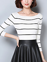 Going out Street chic Regular Pullover,Striped White / Black Boat Neck Long Sleeve Cotton Spring / Fall Medium