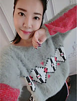 Women's Casual/Daily Cute Regular Pullover,Print Gray Round Neck Long Sleeve Cotton Winter Medium