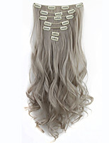 Colors Clip in Hair Extensions 7pcs/set Long Hairpiece Curly Wavy Heat Resistant Synthetic Natural Hair Extension Gray