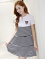 Maternity Casual/Daily Simple Shift Dress,Patchwork V Neck Above Knee Short Sleeve White Polyester Summer