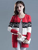 Women's Casual/Daily Street chic Regular Cardigan,Print Round Neck Long Sleeve Cotton Spring / Fall Medium