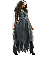 Cosplay Costumes Ghost / Zombie Movie Cosplay Gray Solid Dress / Headpiece / Gloves Halloween / Christmas / New Year Female Polyester
