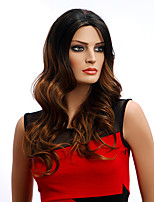 Hot Style Brown Black Mixed Color Long Wavy European Women Synthetic Wigs