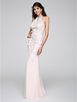 TS Couture® Formal Evening Dress Sheath / Column Halter Floor-length Tulle with Appliques / Sequins