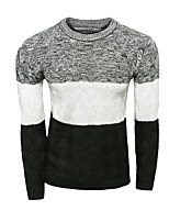 Men's Patchwork Casual Pullover,Wool Long Sleeve Red / White / Gray