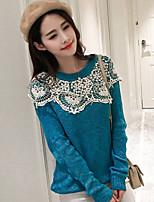 Model real shot 2017 spring models female Korean Slim lace knit sweater hedging bottoming female