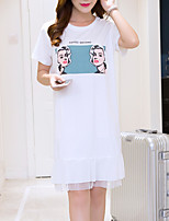 Women's Going out Cute Loose Dress,Print / Letter Round Neck Knee-length Short Sleeve White / Black Cotton All Seasons