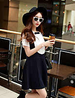 Women's Going out / Work / Holiday Simple / Cute / Sophisticated A Line Dress,Solid / Color Block Round Neck