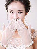 Korean Wrist Length Fingertips Glove Net Bridal Gloves with Tiny Flowers
