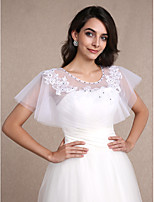 Women's Wrap Shrugs Sleeveless Lace White Wedding / Party/Evening Scoop 30cm Beading / Lace Pullover