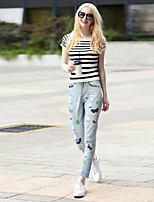 Boutique S Going out / Casual/Daily / Street chic Summer T-shirt Pant,Striped Round Neck Short Sleeve GrayCotton