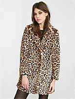 Women's Plus Size / Party/Cocktail Simple Fur Coat,Solid Stand Long Sleeve Fall / Winter Yellow Acrylic Thick