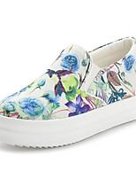 Mujer-Tacón Robusto-Confort-Zapatos de taco bajo y Slip-Ons-Casual-Tejido-Negro / Blanco