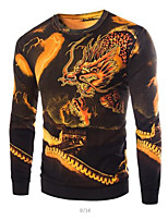 Men's Print Casual Pullover,Cotton Long Sleeve Black / Yellow