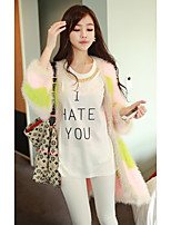 Women's Going out / Cute Long Cardigan,Color Block Yellow V Neck Long Sleeve Cotton Spring / Fall Medium