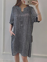 Women's Plus Size / Going out /  Shift Dress,Striped V Neck Above Knee ½ Length Sleeve Gray Polyester Summer