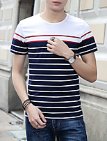 Men's Striped Casual T-ShirtCotton Short Sleeve-Black / White