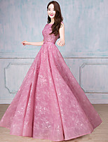 Formal Evening Dress A-line Scoop Floor-length Tulle with Beading / Ruffles / Sequins