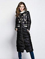 Dreamy Land Women's Solid / Print White / Black Down Coat,Simple Stand Long Sleeve