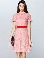Boutique S Women's Going out Cute Sheath Dress,Solid Round Neck Above Knee Short Sleeve Pink Others All Seasons