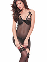 Women Chemises & Gowns / Lace Lingerie Nightwear,Lace Jacquard-Medium Spandex Black Women's