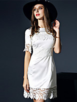 Boutique S Women's Casual/Daily Sexy A Line Dress,Embroidered Round Neck Above Knee Short Sleeve White Polyester Summer