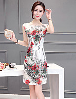 Women's Plus Size / Going out Street chic Loose Dress,Floral Round Neck Above Knee Sleeveless White Silk / Cotton Summer