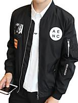 Мужской Хлопок Куртка На каждый день,Однотонный,Длинный рукав,Черный / Серый