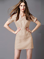Boutique S Going out /Daily / Holiday Sexy / Simple / Cute Sheath Dress,Solid Shirt Collar Above Knee Short Sleeve Beige
