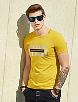 WILSHEMON® Men's Round Neck Short Sleeve T Shirt Black / White / Yellow-18011