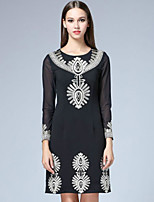 Boutique S Women's Casual/Daily Vintage Shift Dress,Embroidered Round Neck Above Knee Long Sleeve Black Polyester Fall