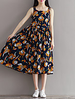 Maternity Going out Street chic Loose Dress,Floral Strap Midi Sleeveless Blue Cotton Summer