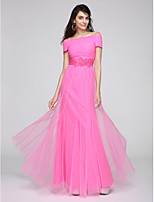 TS Couture® Formal Evening Dress Sheath / Column Bateau Floor-length Tulle with Appliques / Beading