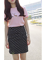 Women's Going out Street chic Spring Set,Polka Dot Round Neck Short Sleeve Pink / White Rayon Thin