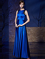 Formal Evening Dress A-line Jewel Floor-length Satin / Charmeuse with Lace / Sash / Ribbon
