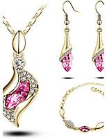 diseño de lujo elegante nueva manera 18k chapado en oro rosa de color joyas cristal austriaco caída juegos de regalo las mujeres