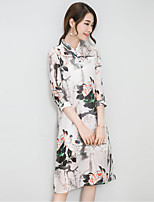 Women's Casual/Daily / Plus Size Chinoiserie Loose Dress,Print Stand Knee-length ¾ Sleeve White Linen Summer