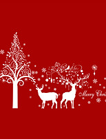 Wall Stickers Wall Decals Style Christmas White Snow Deer Tree PVC Wall Stickers