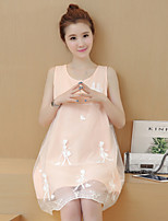 Maternity Casual/Daily Cute Loose Dress,Solid Round Neck Above Knee Sleeveless Pink Polyester Summer