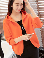 Women's Casual/Daily Simple Regular Cardigan,Solid Hooded Long Sleeve Cotton Spring / Fall Medium