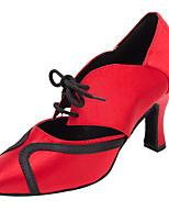 Chaussures de danse(Rouge) -Personnalisables-Talon Personnalisé-Satin-Latine / Moderne