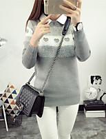 Damen Standard Pullover-Ausgehen / Lässig/Alltäglich Einfach / Niedlich Einfarbig Rosa / Rot / Schwarz / Grau Rundhalsausschnitt Langarm