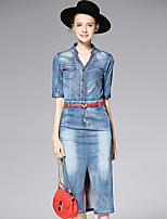 AFOLD® Women's V Neck Short Sleeve Tea-length Dress-6019