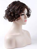 монолитным темно-коричневый парик 16 дюймов длинные вьющиеся парики из синтетических волос