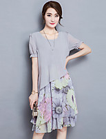 Women's Going out Street chic Plus Size / Chiffon Dress,Floral Round Neck Knee-length Short Sleeve Gray Summer