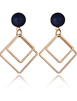 2016 Women Fashion Jewelry 18K Gold Plated Double Metal Square Dangle Earrings European Vintage Big Party Earrings