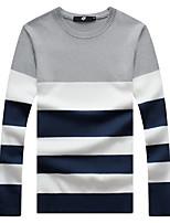 Men's Fashion Striped Color Block Round Collar Casual Slim Fit Pullover Sweater;Casual/Plus Size