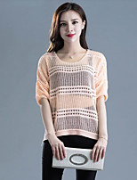 Women's Casual/Daily Street chic Regular Pullover,Solid  Round Neck ½ Length Sleeve Acrylic Spring / Fall Medium