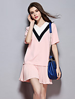 Women's Going out Street chic Sheath Dress,Solid V Neck Knee-length Short Sleeve Pink Cotton Summer